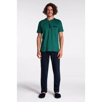 Men's Green Pique O Neck Pajama Set E0218Y0048