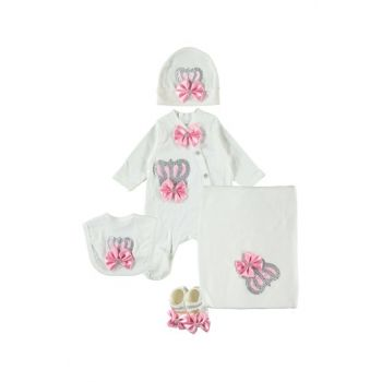 Queen Crowned Pink 5 Piece Baby Girl Hospital Outlet Set PP753P