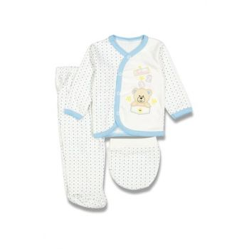White Baby Girl Spotted Teddy Bear Hospital Outfit Set of 3 16756