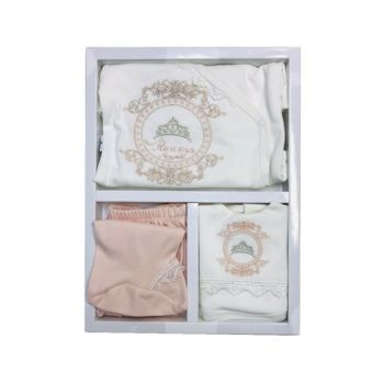 salmon salmon GIRL BABY 0-3 MONTH PRINCESS 5 PIECE SET 14278 100% cotton