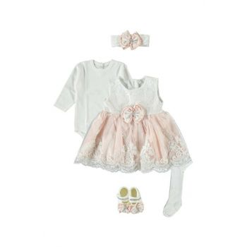 Baby Girl 5 Piece Dress Seasonality Suit, Wedding, Henna Gown Salmon PS331