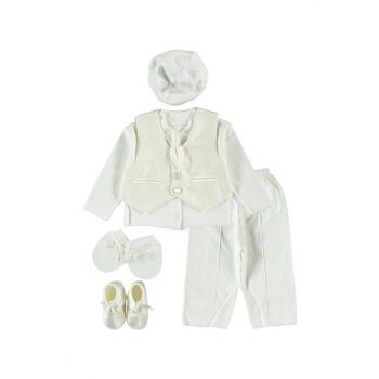 Vest, Tie 6 Piece Baby Boy Clothing Set Ecru 0-6 Months PE201