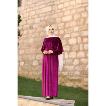 Velvet Hijab Dress with Cape 5060-5