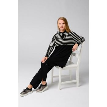 Women's Black Striped Hooded Trench Pants Suit 101021196069