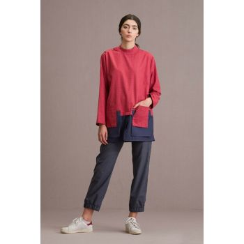 Women's Double Pocket Set Navy Blue-Red T186