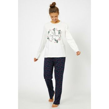 Women's Navy Blue Printed Pajama Set 0KLK79215MK