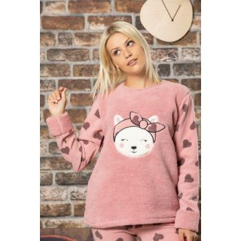 Women's Powder Welsoft Embroidered Pajamas Suit 2514