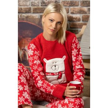 Women's Red Welsoft Embroidered Pajamas Suit 2501