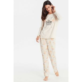 Women's Ecru Printed Pajamas Set 9W9957Z8