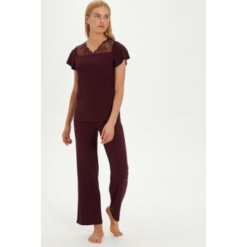 Women's Burgundy Pajama Set 9W9953Z8