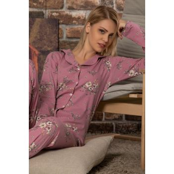 Women's Patterned Buttoned Long Sleeve Cotton Lycra Sleepwear Suit 2281S