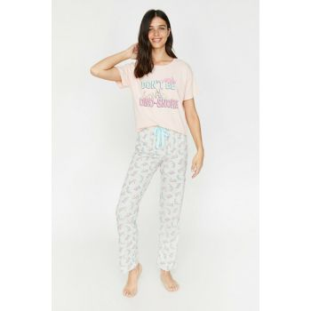 Women's Gray Printed Pajamas Set 0KLK79159MK