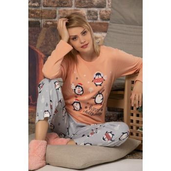 Women's Kitten Mouth Cotton Long Sleeve Interlock Sleepwear Suit 23002