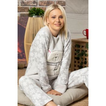 Women's Gray Welsoft Embroidered Pajamas Suit 2501
