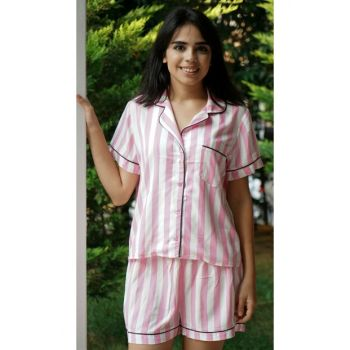 Women's Pink Striped Sort Set 100023
