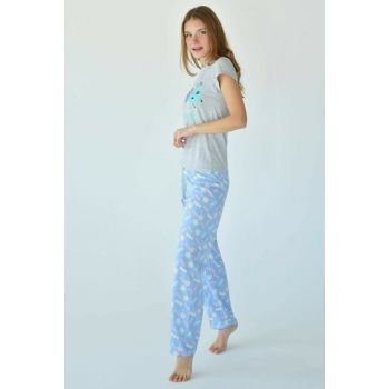 Women's Gray Printed Pajama Set PJM11257 - C4 ADX-0000016538