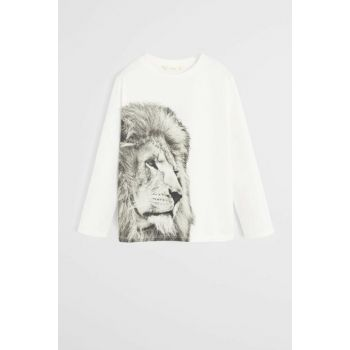 Off White Boy Leopard Printed Cotton T-Shirt 57008266