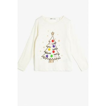 Ecru Girls' New Year Themed T-Shirt 0KKG17024OK