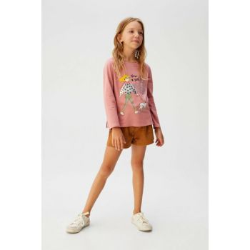 Pink Girl Kids Sequin And Printed T-Shirt 57075932