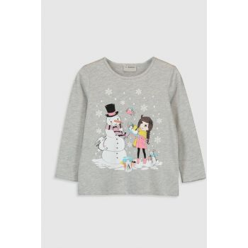 Girl's Gray Melange T-Shirt 9WP832Z4