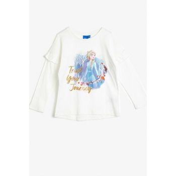 Ecru Girl Frozen Printed T-Shirt 0KKG17429AK
