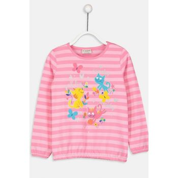 Girl's Pink Striped Lhk T-shirt 8WO453Z4