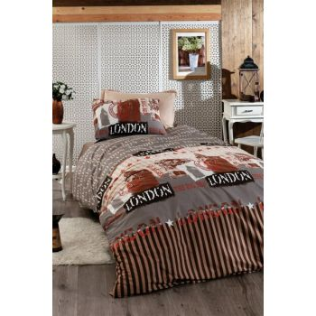 100% Natural Cotton Single Size Duvet Cover Set Bigben Coffee 8840 v1 Ep-018468