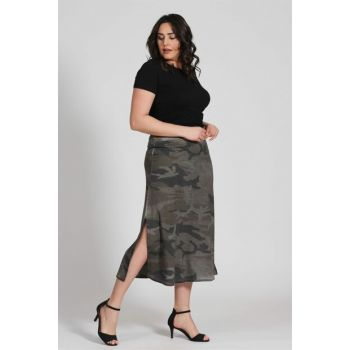 Women Camouflage Print Pattern Oil Wash Midi Skirt - Anthracite - Bb PRA-236828-175486