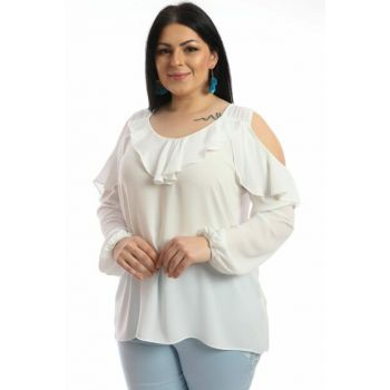 Women's Ecru Shoulder Detail Crepe Blouse P422