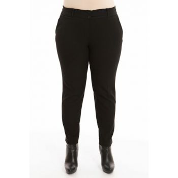 Women's Black Hem Slit Pants PT2135-1