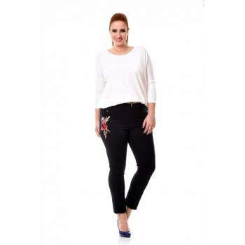 Women's Navy Blue Embroidery Trousers 249