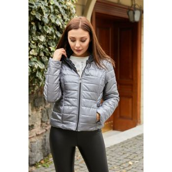 Hooded Inflatable Coat - GRAY - 20KMO584K108