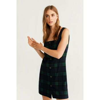 Women's Green Buttoned Patterned Dress 51043778