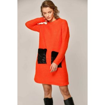 Women's Orange Pockets Beard Tunic 10421 Y19W126-10421