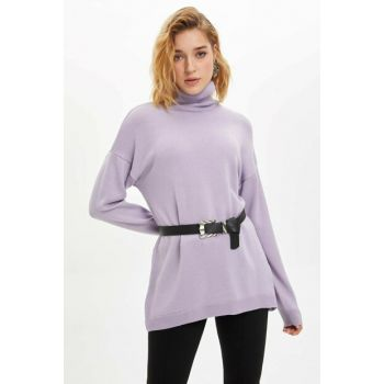 Women Purple Turtleneck Basic Knitwear Tunic J4131AZ.19WN.PR249