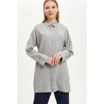 Women's Gray Long Sleeve Tunic, Shirt M9556AZ.19WN.GR2