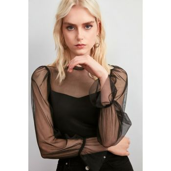 Black Tulle Knitted Blouse TWOAW20BZ1132