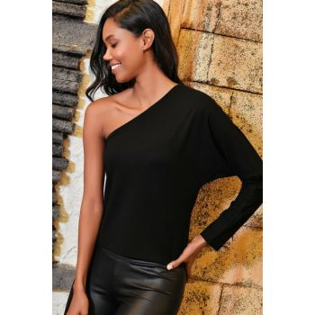 Women's Black One Shoulder Low-cut Blouse ALC-018-145-QA