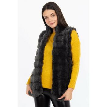 Women's Anthracite Fur Vest D3033