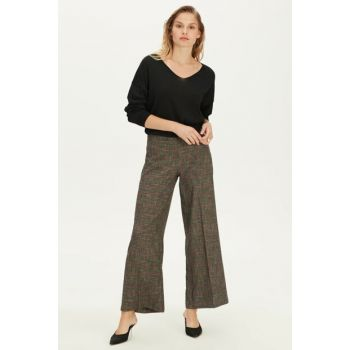 Women's Anthracite Plaid Trousers 9WG610Z8