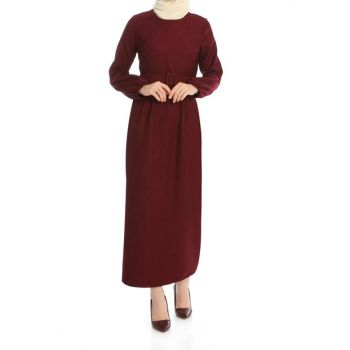 Women's Burgundy Sleeve Elastic Belt Dress ELB03212_BRD