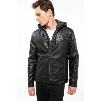 Men's Faux Leather Coat J0970AZ.18AU.BK27