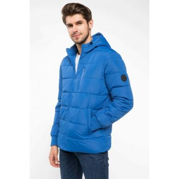 Men's Blue Hooded Inflatable Coat J0158AZ.18WN.BE399