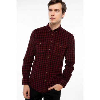 Men's Double Pocket Check Plaid Shirt H3713AZ.18AU.BR254
