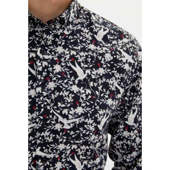 Men's Black Floral Pattern Slim Fit Shirt M1475AZ.19AU.BK27