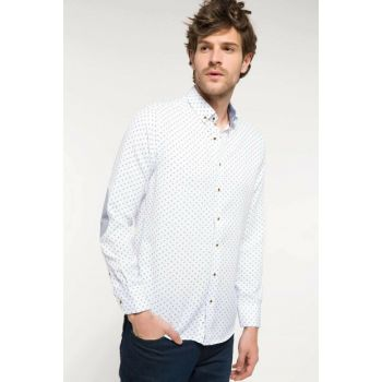 Men's Modern Fit Elbows Patch Detailed Shirt I4278AZ.18SP.BE174