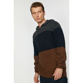 Men's Camel Feather Striped Sweater 9KAM94111OX