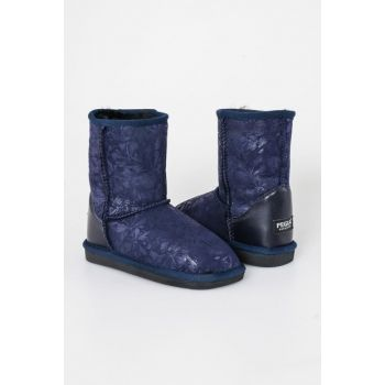 Navy Blue Genuine Fur Flower Pattern Classic Children Boots 181005