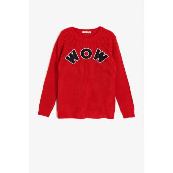 Red Child Embroidered Sweater 0KKB96780HT