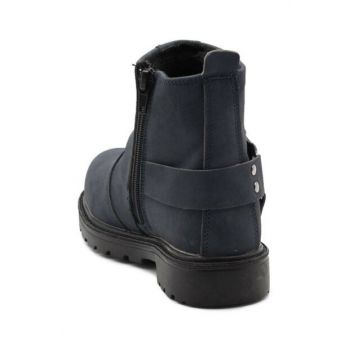 Navy Blue Kids Biker Boots CL37LCVRT